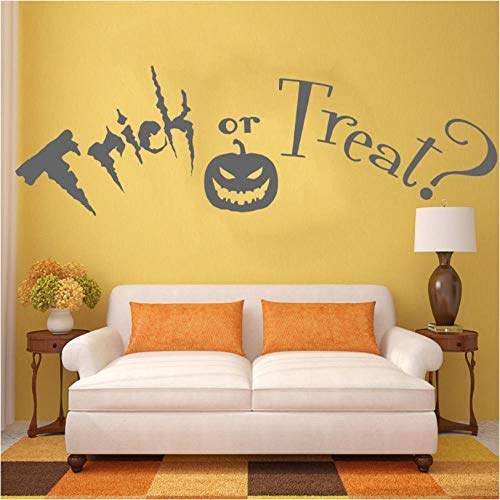 huaxiazu Trick or Treat Quote, Halloween. Vinyl Wall Art Sticker Applique Mural. Home Wall Decor Living Room Corridor Wall Sticker 42 X 135cm]()