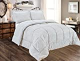 Alternative Comforter - Sweet Home Collection 3 Piece Reversible Polyester Microfiber Goose Down Alternative Comforter Set with pillow Shams, King, Paisley Gray
