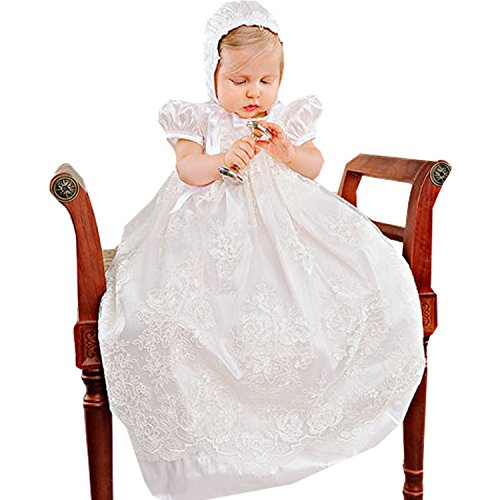 Newdeve Ivory Satin Lace Baptism Gowns Unisex with Ruffle Sleeve (18-24 months) by New Deve