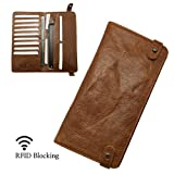 RFID Blocking Passport Wallet - Vintage Genuine Leather Card Purse Case Travel Document Holder Organizer (RFID Brown)