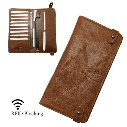 RFID Blocking Passport Wallet Vintage Genuine Leather Card Purse Case Travel Document Holder Organizer