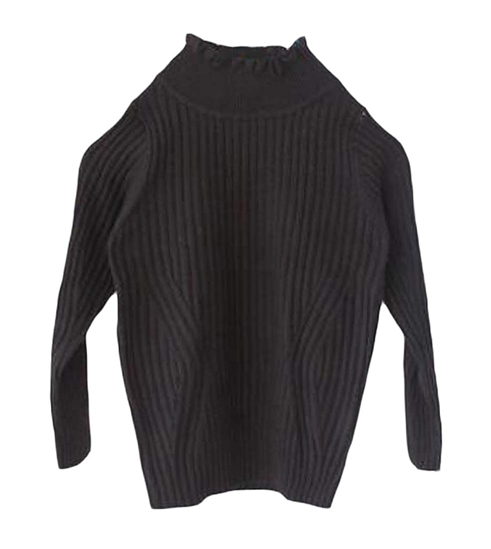Wofupowga Girls Stretchy Jumper Thicken Pullover Classic Turtleneck Sweaters