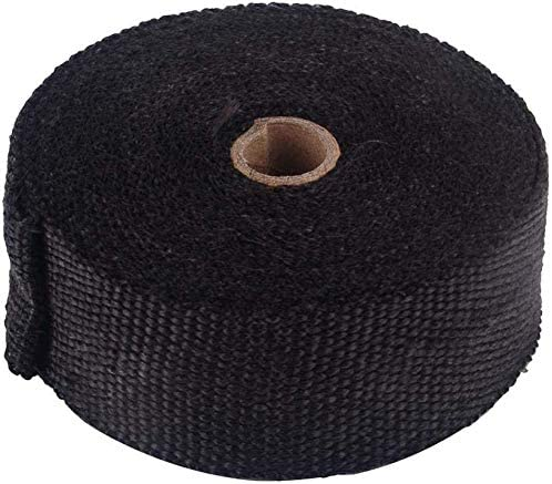 color negro para colectores de hasta 1500/° 10 m protecci/ón contra el calor cinta de protecci/ón t/érmica de fibra de basalto para motocicleta Cinta de protecci/ón t/érmica para tubo de escape
