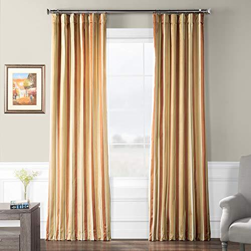 Pts-SLK16-108 Luxury Faux Silk Stripe Curtain, 50 x 108