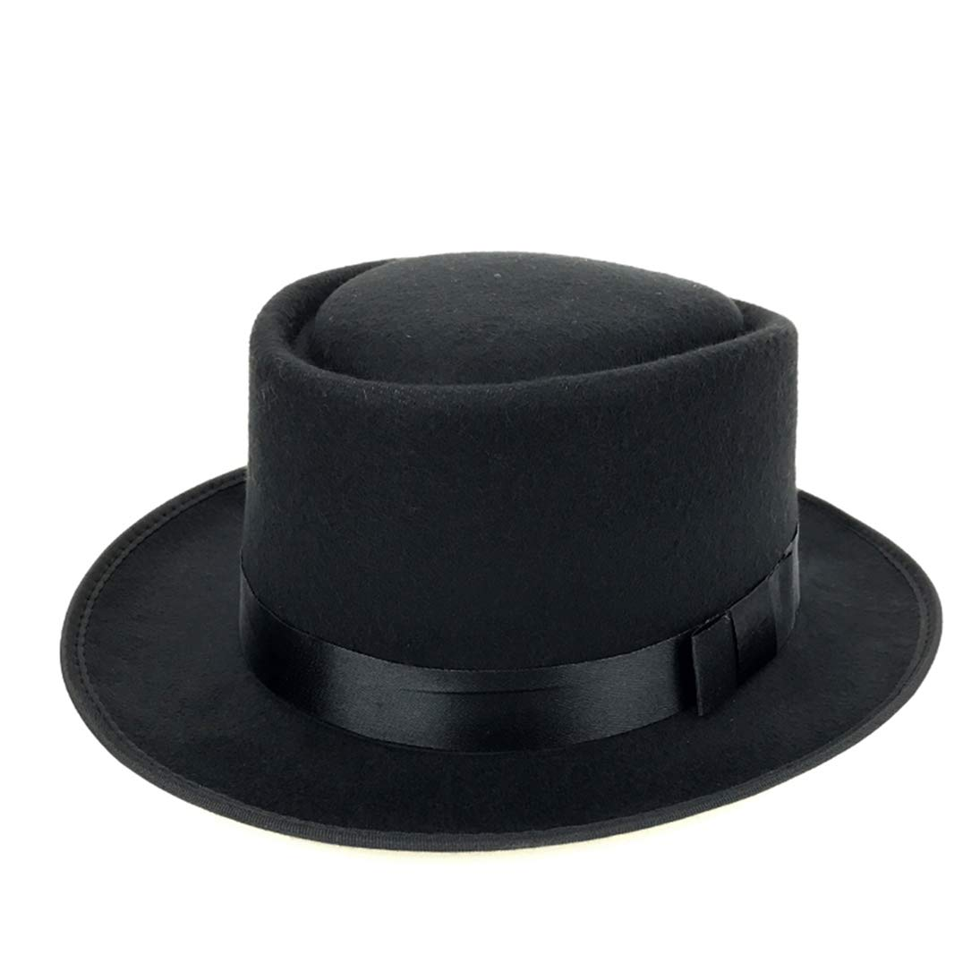 Mens Crushable Wool Felt Porkpie Hat Unisex Classic Trilby Vintage Style Fedora Hat with Band