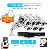 [Audio & Video] 8CH 1080P POE Security Camera System NVR Kits with 2TB Hard Drive,8PCS Outdoor 2.0Mega-pixel Bullet Surveillance Cameras,Night Vision and IP66 Waterproof