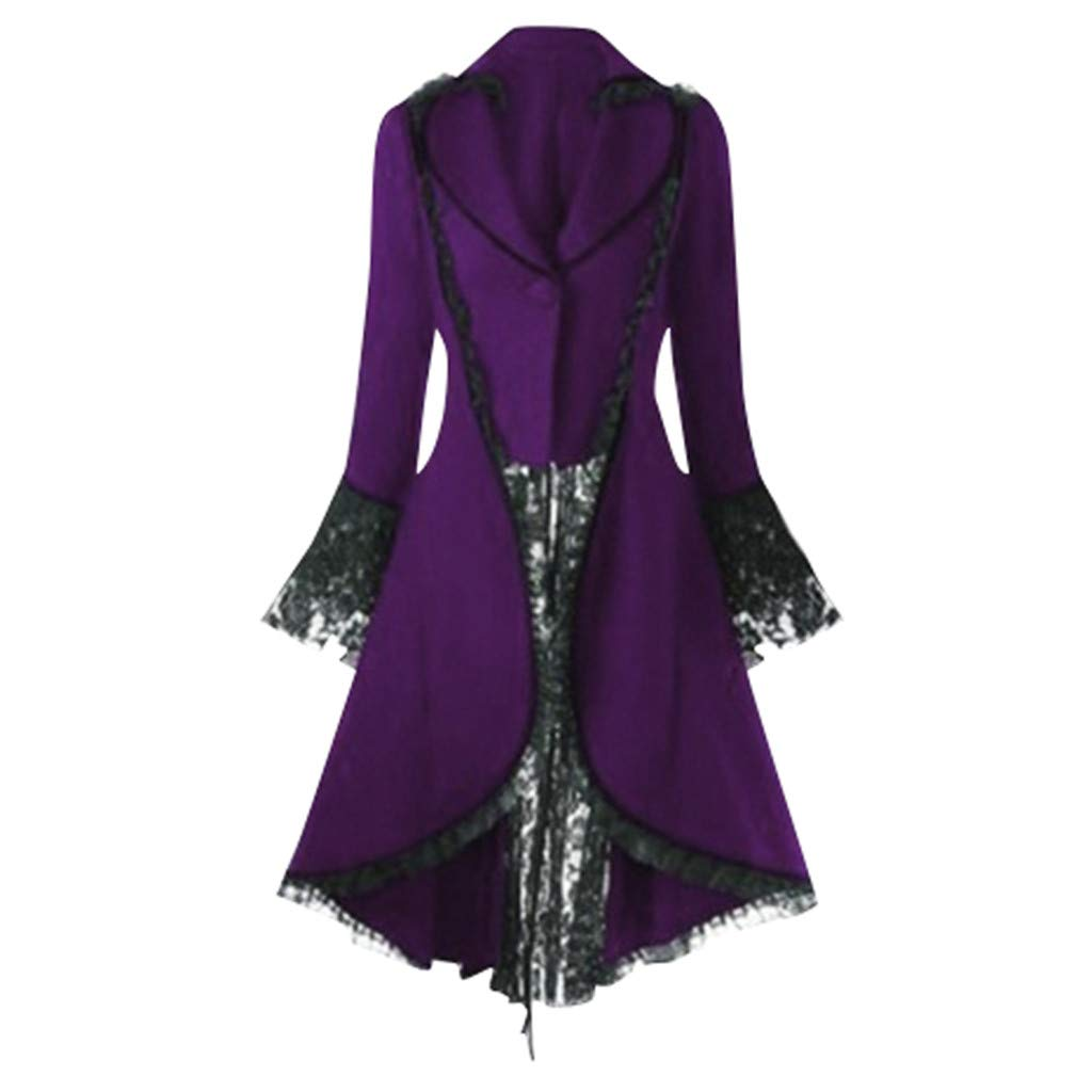 Gergeos Womens Renaissance Gothic Costumes Hooded Robe Lace Up Vintage Pullover High Low Long Hoodie Dress Overcoat(Purple,XXXXL) by Gergeos