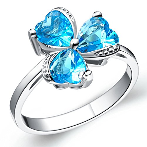 FENDINA Womens Silver Plated Pretty Triple Hearts Sky Blue CZ Stone Crystal Wedding Engagement Bands Ring Girlfriend Promise Rings for Her Size 8