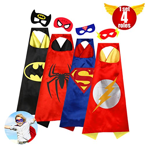 Capes Boys Superhero Toddler Costumes Super Hero Kids Toys Satin Comics Cartoon Dress Up Felt Masks Costume Set Children Super Hero Theme Halloween Birthday Christmas Gifts Party 4roles(boys) (Superhero Halloween)