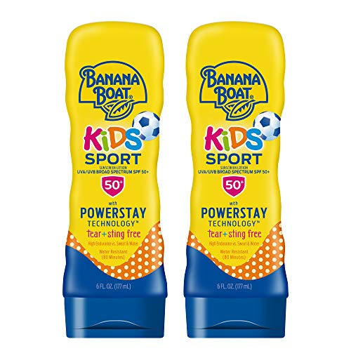 Banana Boat Kids Sport Tear Free, Sting Free, Reef Friendly Sunscreen Lotion, Broad Spectrum SPF 50, 6 Ounces – Twin Pack