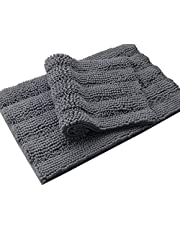 Home Beyond & HB design - 2-Piece Striped Chenille Bath Mat Rug Set for Bathroom, Ultra Soft Thick Absorbent Non Slip - Machine Washable, 19.7 x 31.5 Inch and 17 x 24 Inch, Grey