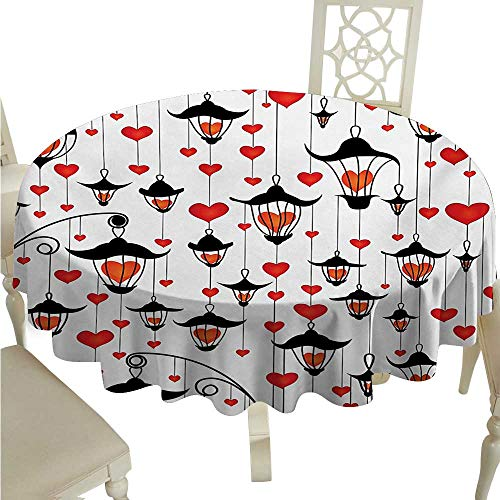 Love Round Polyester Tablecloth Lanterns and Heart for Valentines Day Small Lamp Classic Antique Washable Polyester - Great for Buffet Table, Parties, Holiday Dinner, Wedding & More D36 Vermillion ()