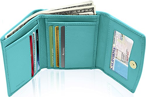 (Small RFID Wallets For Women - Leather Slim Compact Womens Wallet Credit Card Holder Mini Coin Pouch Gifts For Women)