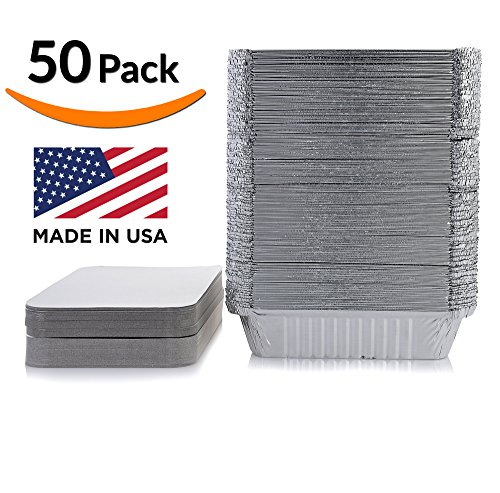 DOBI Takeout Pans - Disposable Aluminum Foil Take-out Containers with Lids, Standard Size (Pack of 50) - Foil Tray