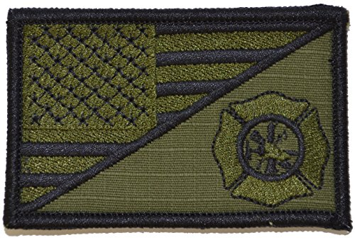 USA Flag/Firefighter Maltese Cross 2.25x3.5 Morale Patch - Olive Drab (OD)