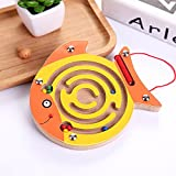 Chusea Child Activity Hammer Toys Wooden Children's Educational Toy Animal Track Magnetic Ball Maze (Round mouth fish)