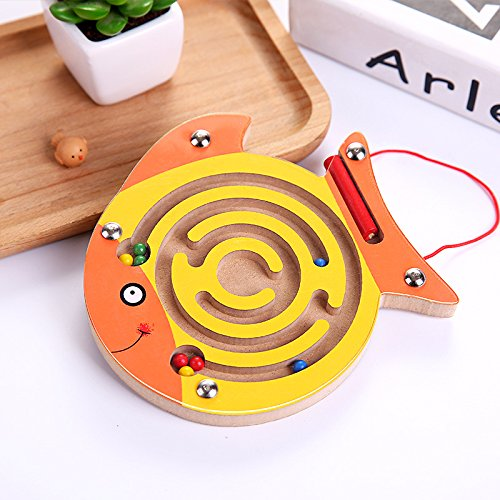 Chusea Child Activity Hammer Toys Wooden Children's Educational Toy Animal Track Magnetic Ball Maze (Round mouth fish) by Chusea