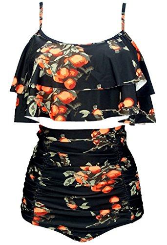COCOSHIP Black & Orange Tangerine Fruit Retro Ruffled Bikini Set Straps Flounce Falbala Top Tiered Ruched High Waist Cruise Swimwear 4