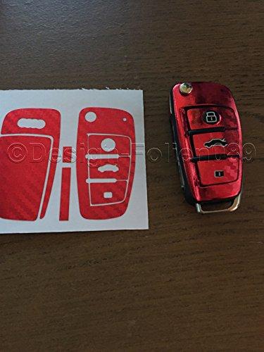 Carbon Folie Foil Film / Dekor Decor Chrom Red Schlüssel Key Audi TT A1 8J A6 A3 8p A4 4F S3 S4 B7 Q7 uvm…