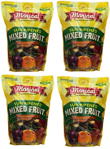 Mariani deNXRz Sun Ripened Mixed Fruit No Sugar Added Dried Fruit, 36 Ounce (4 Pack) by