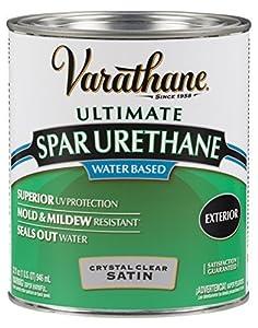 Rust oleum varathane 250241h 1 quart classic clear water based outdoor spar urethane satin for Varathane water based exterior polyurethane