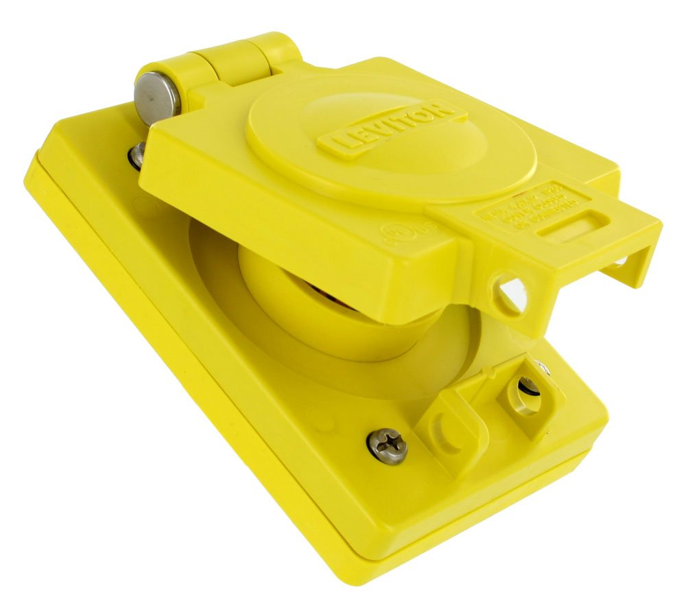 Leviton WTCVS-15 Mounting Screws, Wetguard Replacement Cover and Gasket for 15/20 Amp and 15 Amp Locking Single Inlets and Outlets, Yellow
