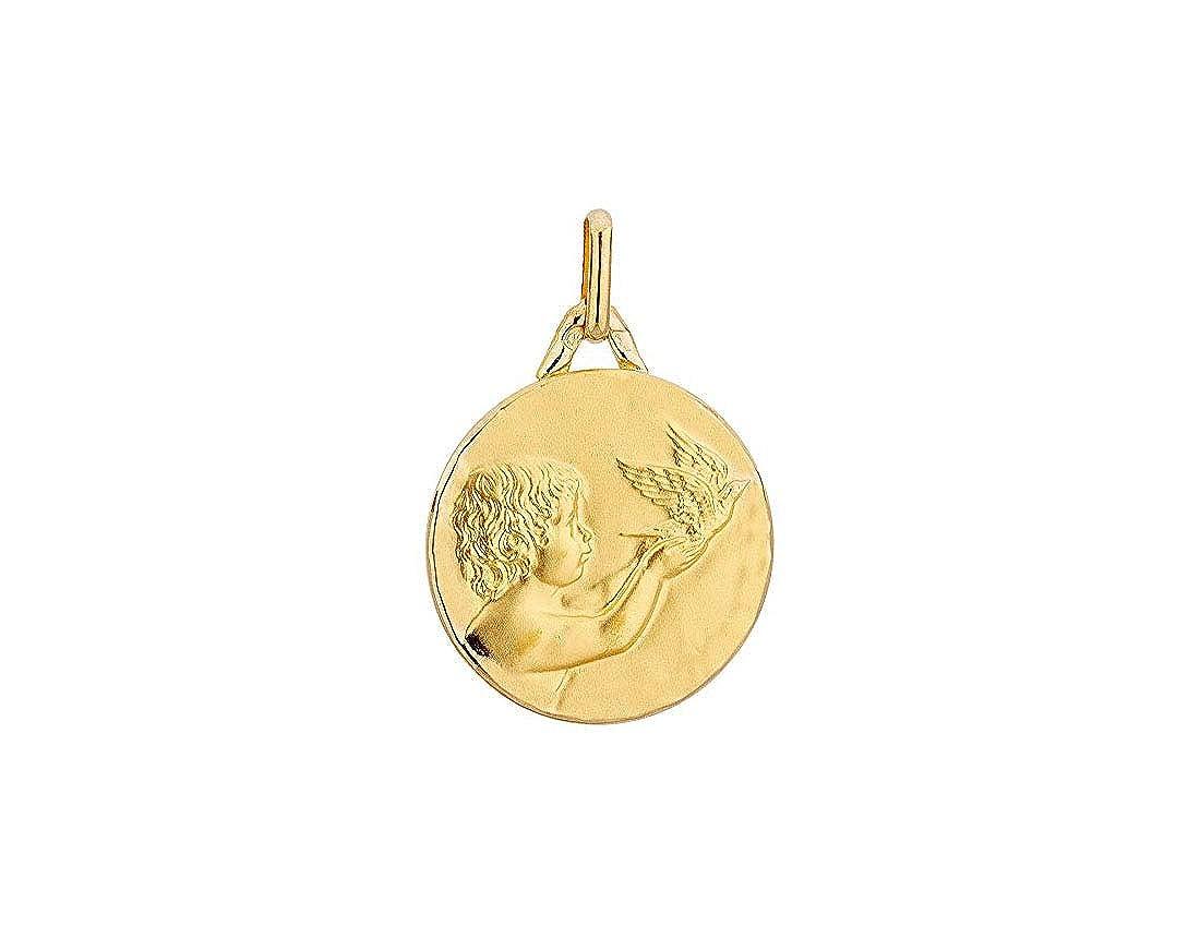 Collana e medaglia angelo in oro 750 18 kt