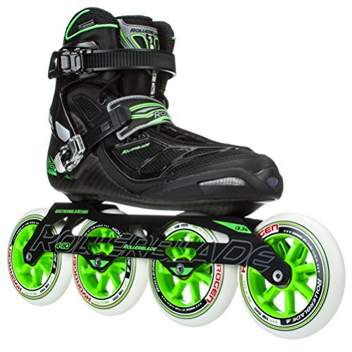 Rollerblade 2015 TEMPEST 110C Premium Fitness/Race Skate with 4x110mm US Made Hydrogen Wheels - HTO PRO Super Precise Bearings, Black/Green, US Men 10.5