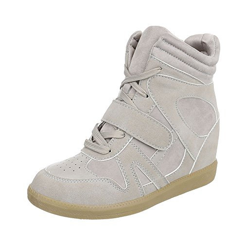 Plataforma para clair Design Zapatillas High mujer Zapatos Ital Zapatillas gris 1tzfz