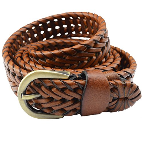 T-PERFECT LIFE Women's Trendy Retro Leather Braided Belt with Bronze Buckle (41 inch, -