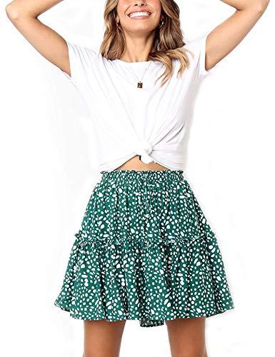 - Relipop Women's Flared Short Skirt Polka Dot Pleated Mini Skater Skirt with Drawstring (T4, XX-Large)