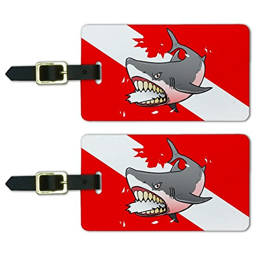 Angry Shark Scuba Diving Flag Diver Luggage ID Tags Carry-On Cards - Set of 2
