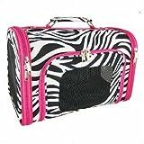Pink Trim Zebra Pet Dog Cat Carrier Small, 14-inch