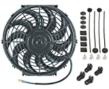 """American Volt 12"""" Inch Universal Automotive Electric Radiator Cooling Fan 12v Curved Blade"""