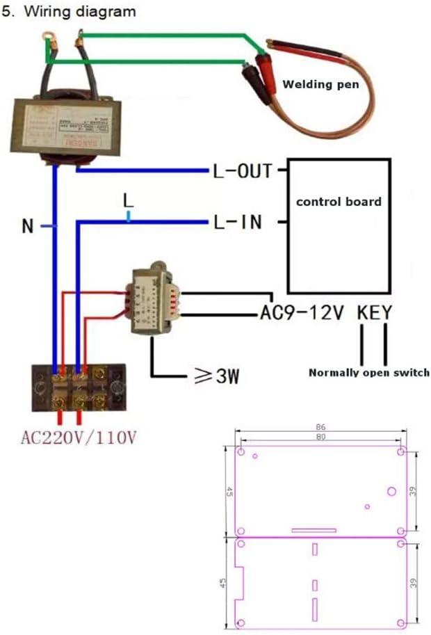 Taidacent 100/40A LCD Digital DIY Dual Pulse Spot Welder Controller for  Battery Welder Transformer Controller Board Spot Welding Controller (100A)  - - Amazon.com   Spot Welding Transformer Diagram      Amazon.com