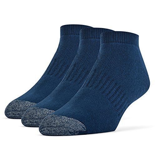 Galiva Men's Cotton Extra Soft Low Cut Cushion Socks - 3 Pairs, Large, Navy - Pair 3 Cotton Socks Quarter