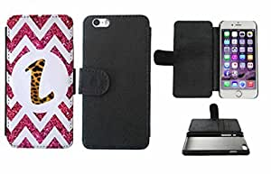 Leopard Print Custom Monogrammed and Pink Glitter Chevron Initial L Leather Phone Case Cover with Credit Card Holder Apple iPhone 6 (4.7 Inches)