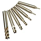 CynKen 7pcs 1.5-8mm 4 Flute HSS Straight Shank End Mill Tool Drill Bit