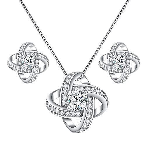 EleQueen 925 Sterling Silver Cubic Zirconia Flower Bud Bridal Pendant Necklace Stud Earrings Jewlery Set