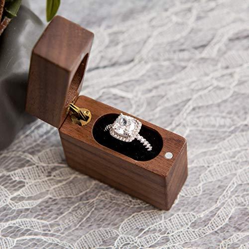 Flip Ring - Secret Proposal Flip Ring Box - Engagement Ring Box made of Walnut Wood, Wedding Ring Box