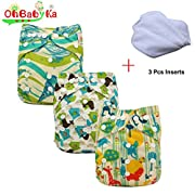 Ohbabyka Baby Reusable Waterproof Bamboo Cloth Diapers Nappies 3Pcs, 3pcs Inserts (Natural Color01)