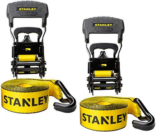 "Stanley S1007 Black/Yellow 1.5"" x 16' Ratchet Tie Down Straps"