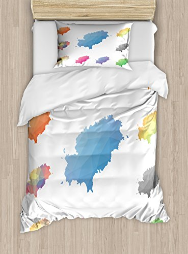 Lunarable Ibiza Twin Size Duvet Cover Set, Mosaic Style Low Poly Mediterranean Maps Colorful Balearic Region South of Spain, Decorative 2 Piece Bedding Set with 1 Pillow Sham, Multicolor by Lunarable