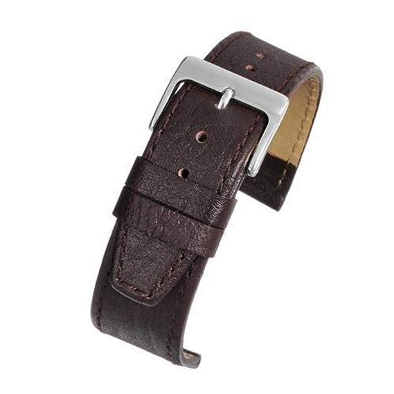 Correa para reloj de piel de becerro marrón con hebilla cromada, cuero flor de búfalo, 17 mm: Amazon.es: Relojes