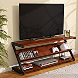LITTLE TREE TV Stand 60, Modern Television Stand Console Table for TVs Up to 60 Inch with 3 Open Shelf, Cherry