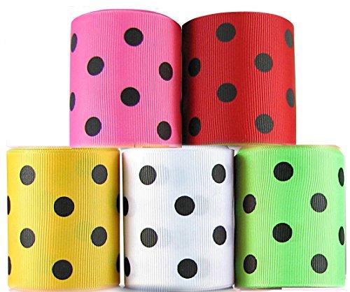 HipGirl Polka Dot Printed Ribbon & Fabric Tape Value Pack (25yd(5x5yd) 2.25