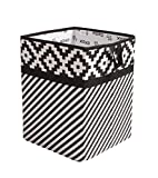 Bacati Love Fabric Collapsible Hamper, Black/white, 14'' x 14'' x 19''