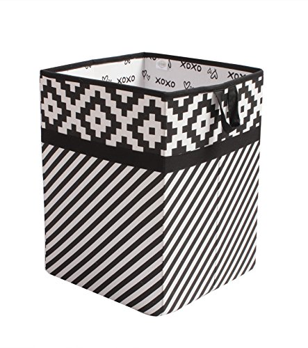 Bacati Love Fabric Collapsible Hamper, Black/white, 14'' x 14'' x 19'' by Bacati