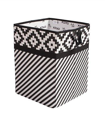 Bacati Love Fabric Collapsible Hamper, Black/white, 14