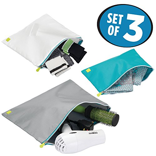 mDesign Versatile Travel Storage Packing Pouches with Zippers: Perfect for Packing Luggage/Suitcases and Carry-Ons – Set of 3, Teal Blue, White and Gray Pouches with Teal Blue Trim and White Zippers